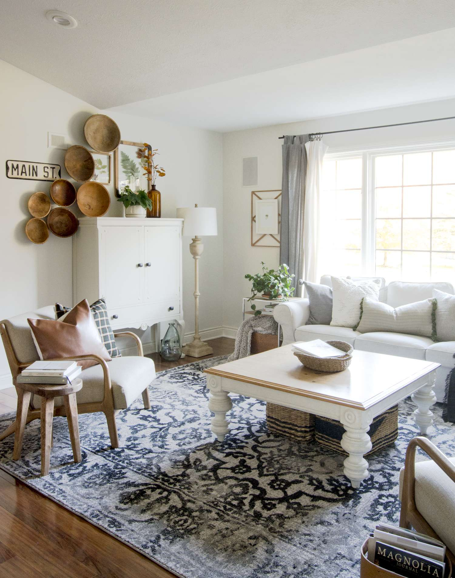 Discount designer rugs for a modern farmhouse living room.