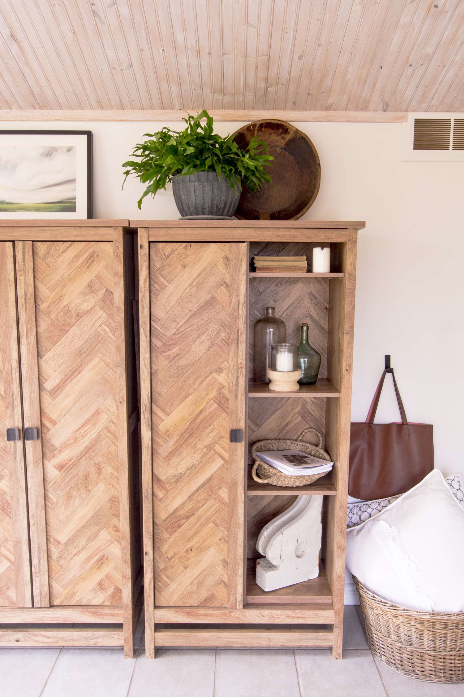 Office cabinets decorated with the modern farmhouse style.