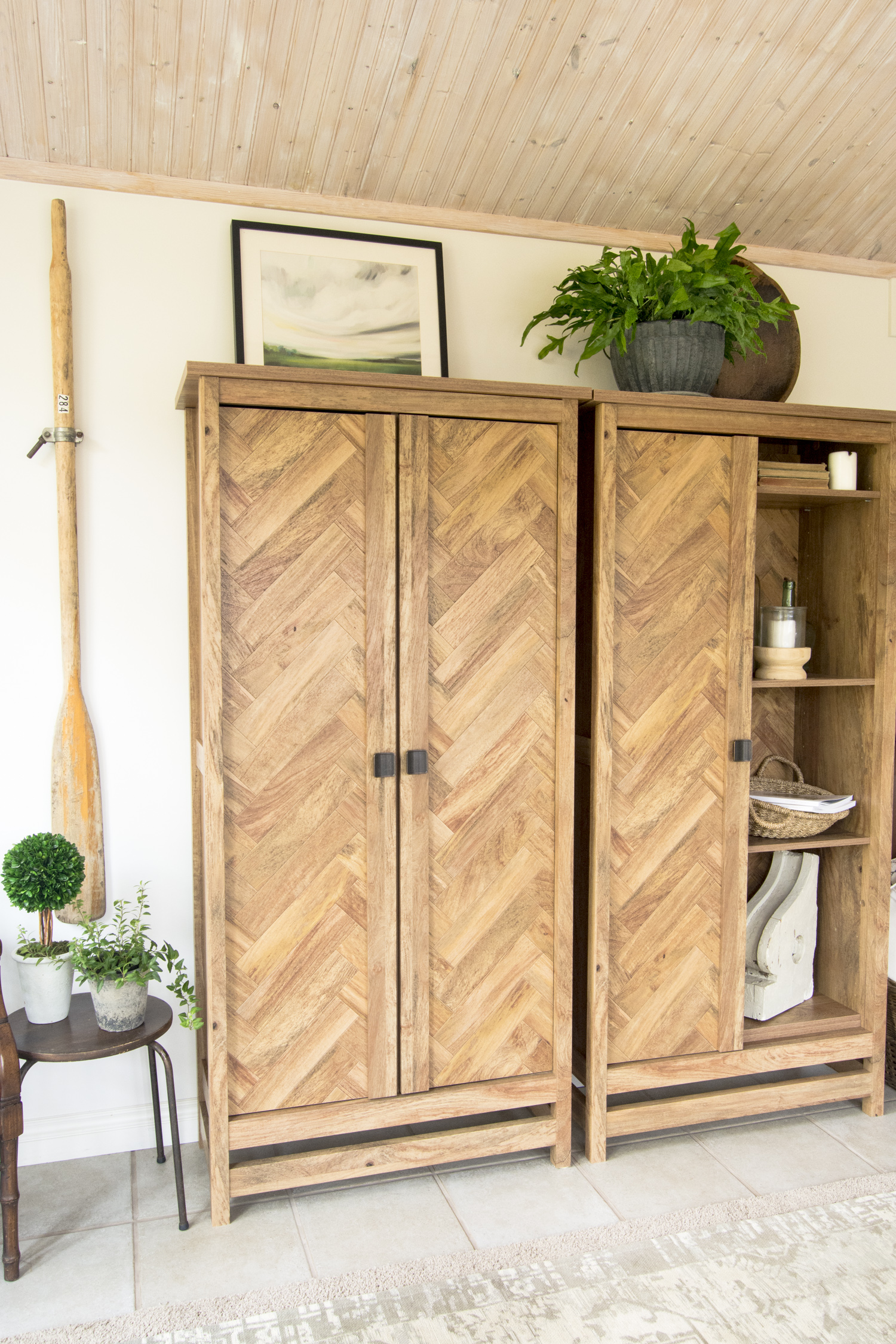Wood storage cabinets.
