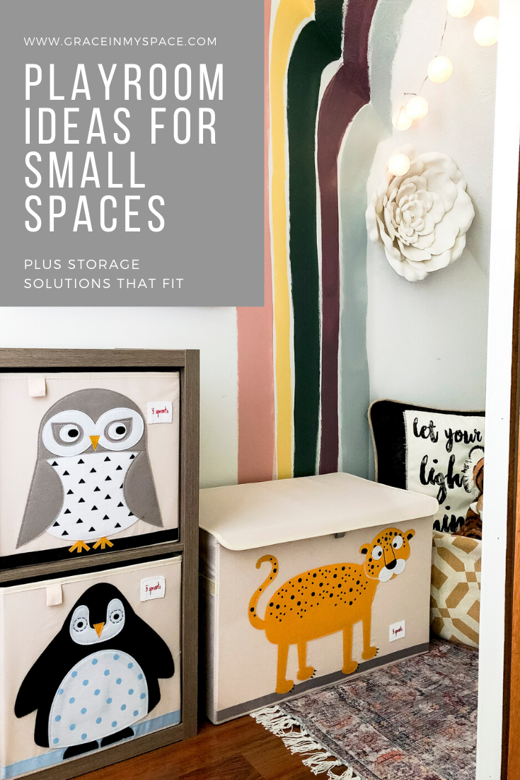 Do you have a small space you'd like to convert to a playroom? Here are simple playroom ideas for small spaces, plus toy storage bins that will fit!