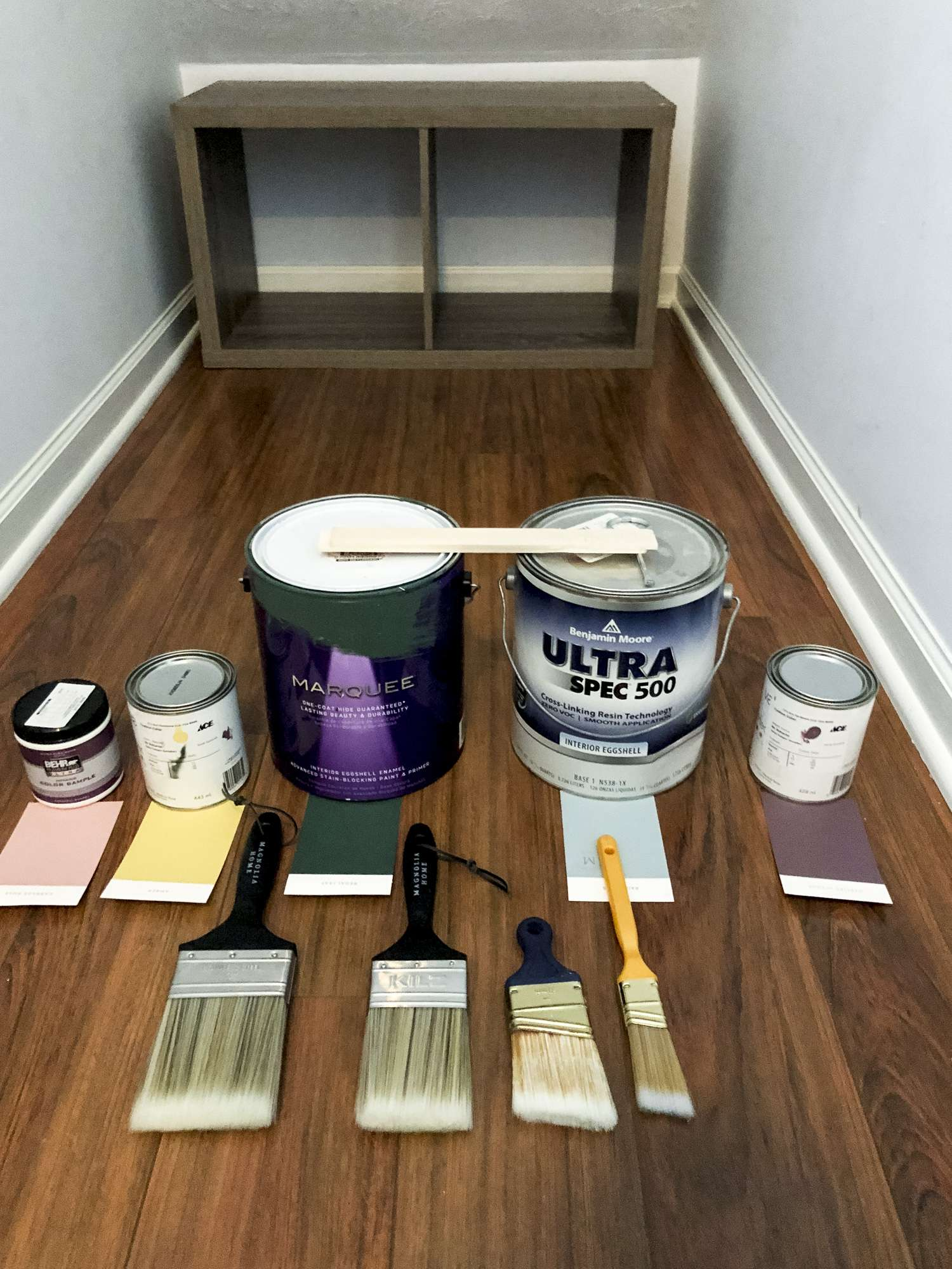 Paint colors for a rainbow mural.