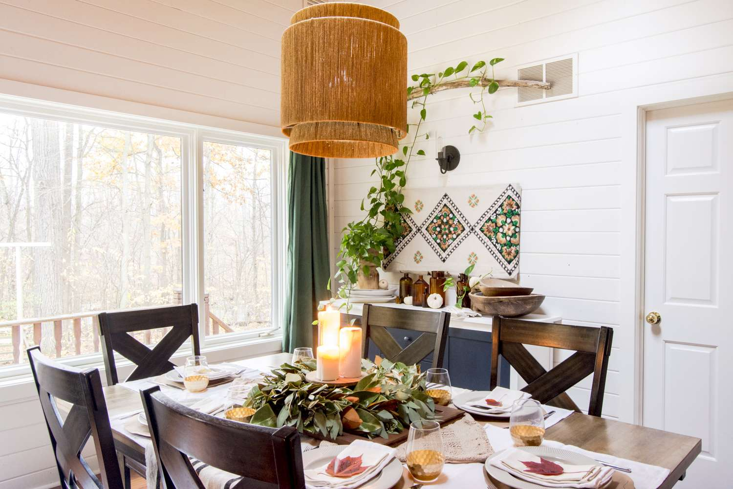 Thanksgiving table decor in a modern farmhouse dining room.