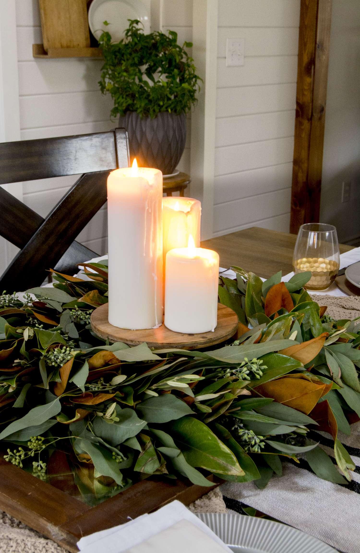 Magnolia and eucalyptus wreath as a Thanksgiving centerpiece.