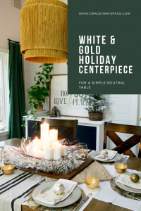 Sometimes a simple and classic centerpiece is the best choice for your Christmas table decor. White and gold centerpieces are perfect for a cozy glow.