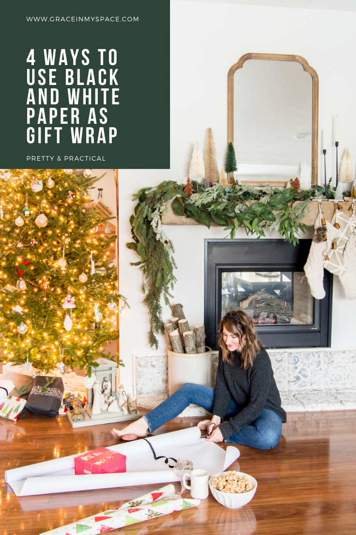 Black and white wrapping paper is timeless! Learn how to incorporate it with other designs into your simple gift wrap ideas this Christmas!