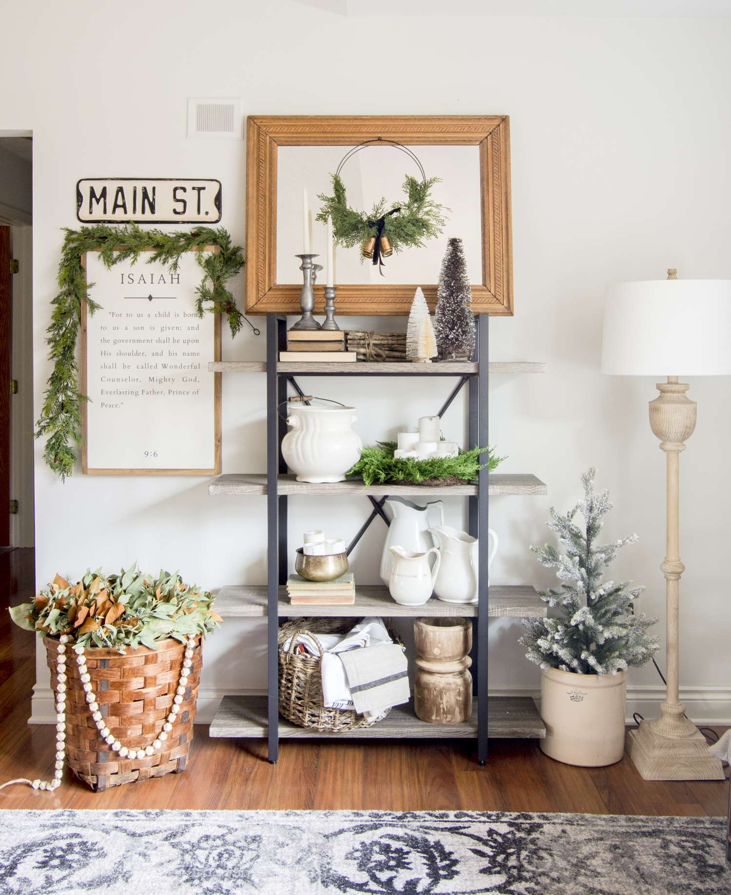 Modern farmhouse open shelving styled for Christmas