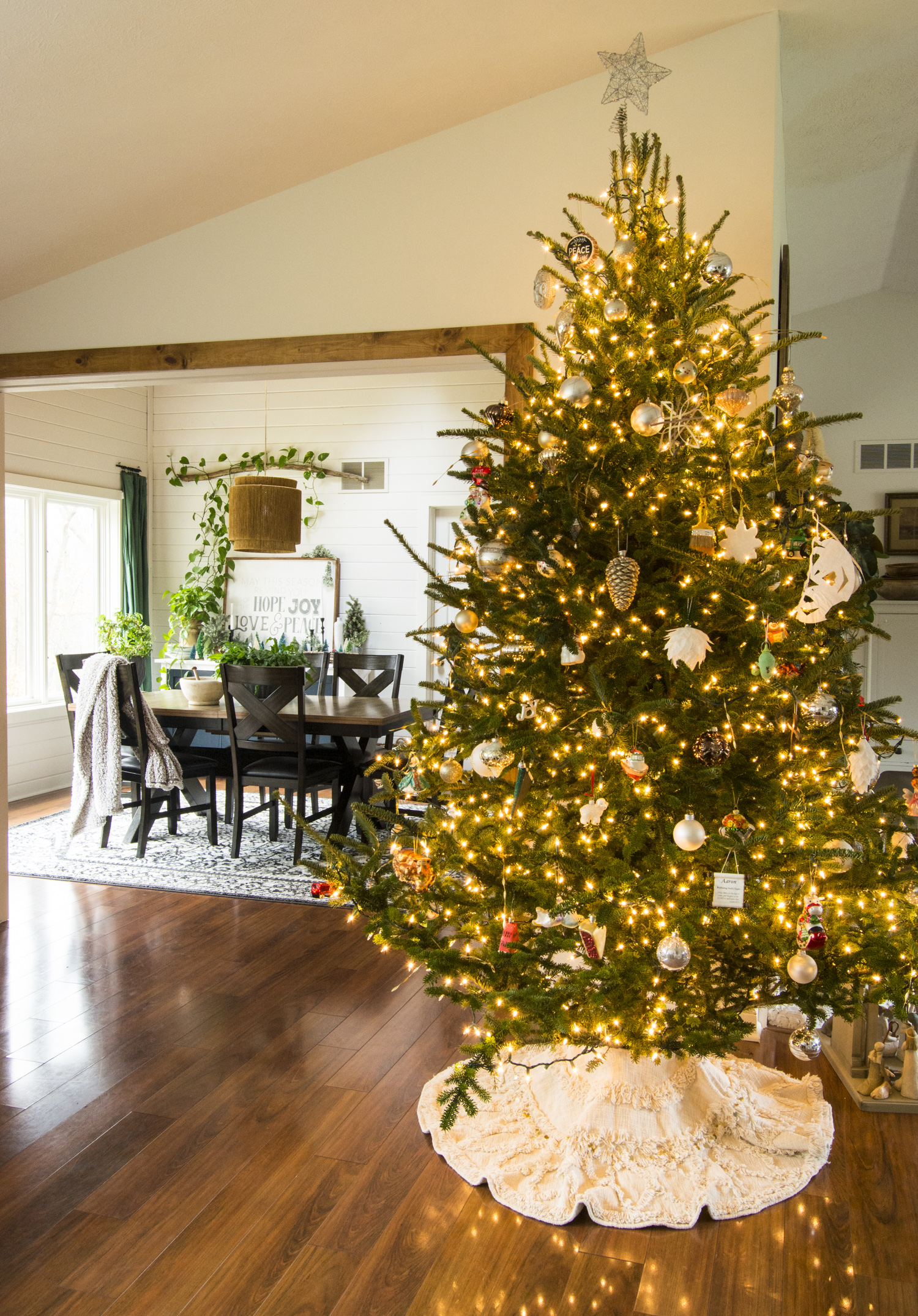 Christmas tree decorated in a modern farmhouse home.