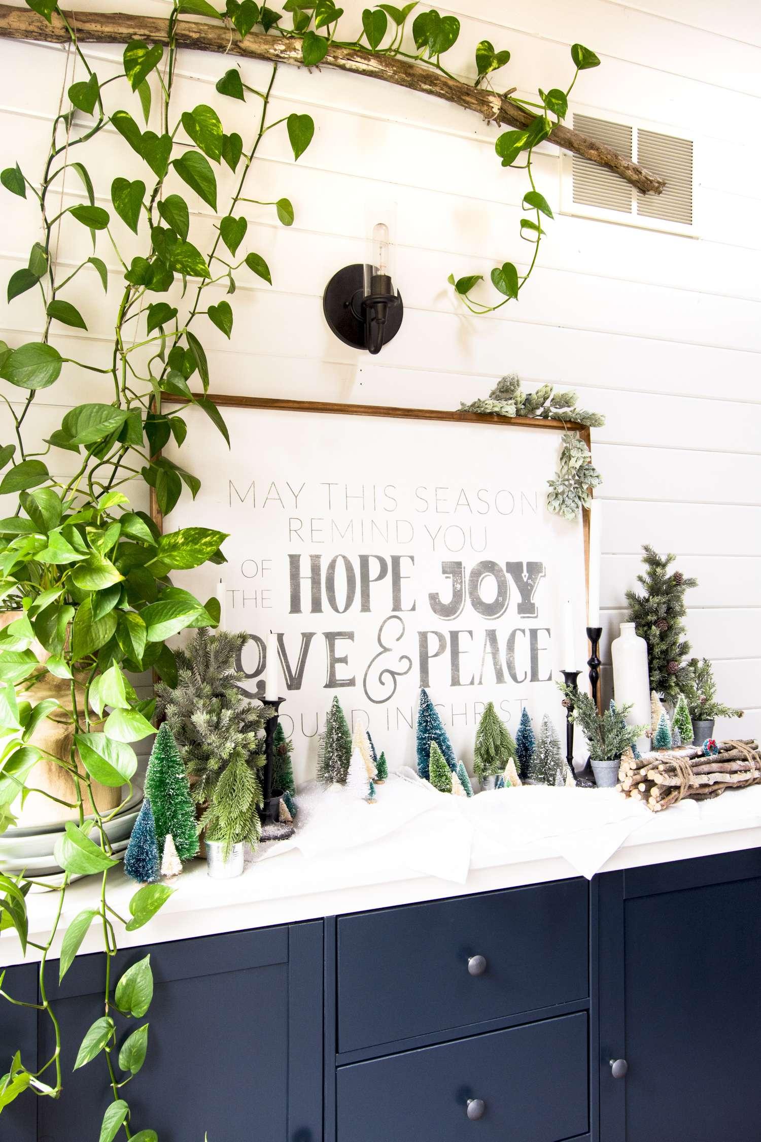 Woodland Christmas decor village display.
