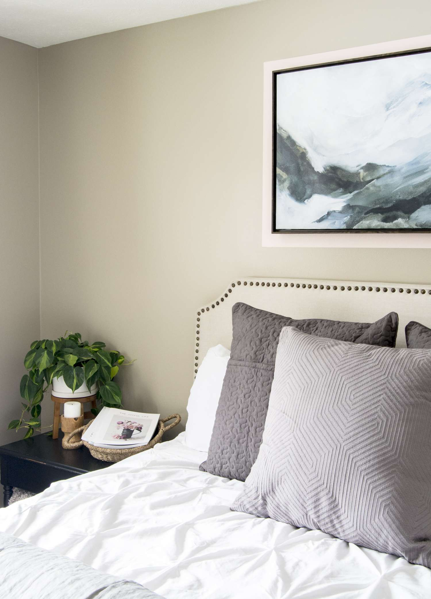 Guest bedroom soft color palette design.