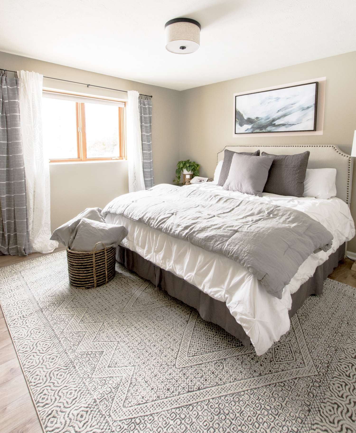 Soft color palette in a guest bedroom.
