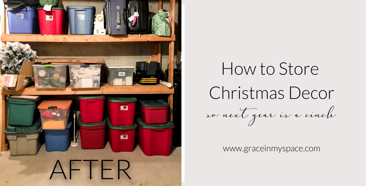 Learn 7 tips for how to get organized Christmas decoration storage so that next year is a cinch to decorate! Christmas storage ideas, made easy!