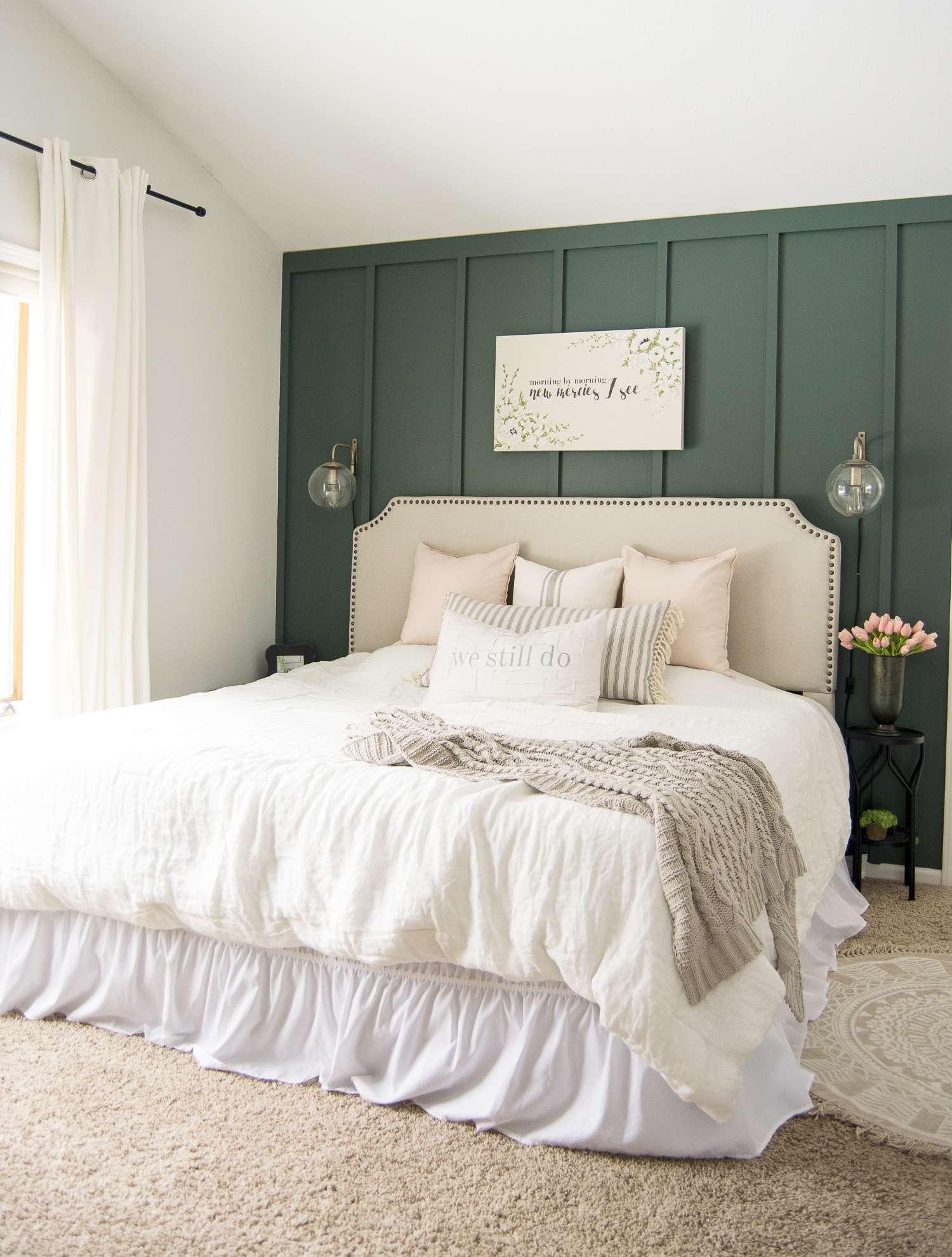 Key elements of a modern farmhouse bedroom.