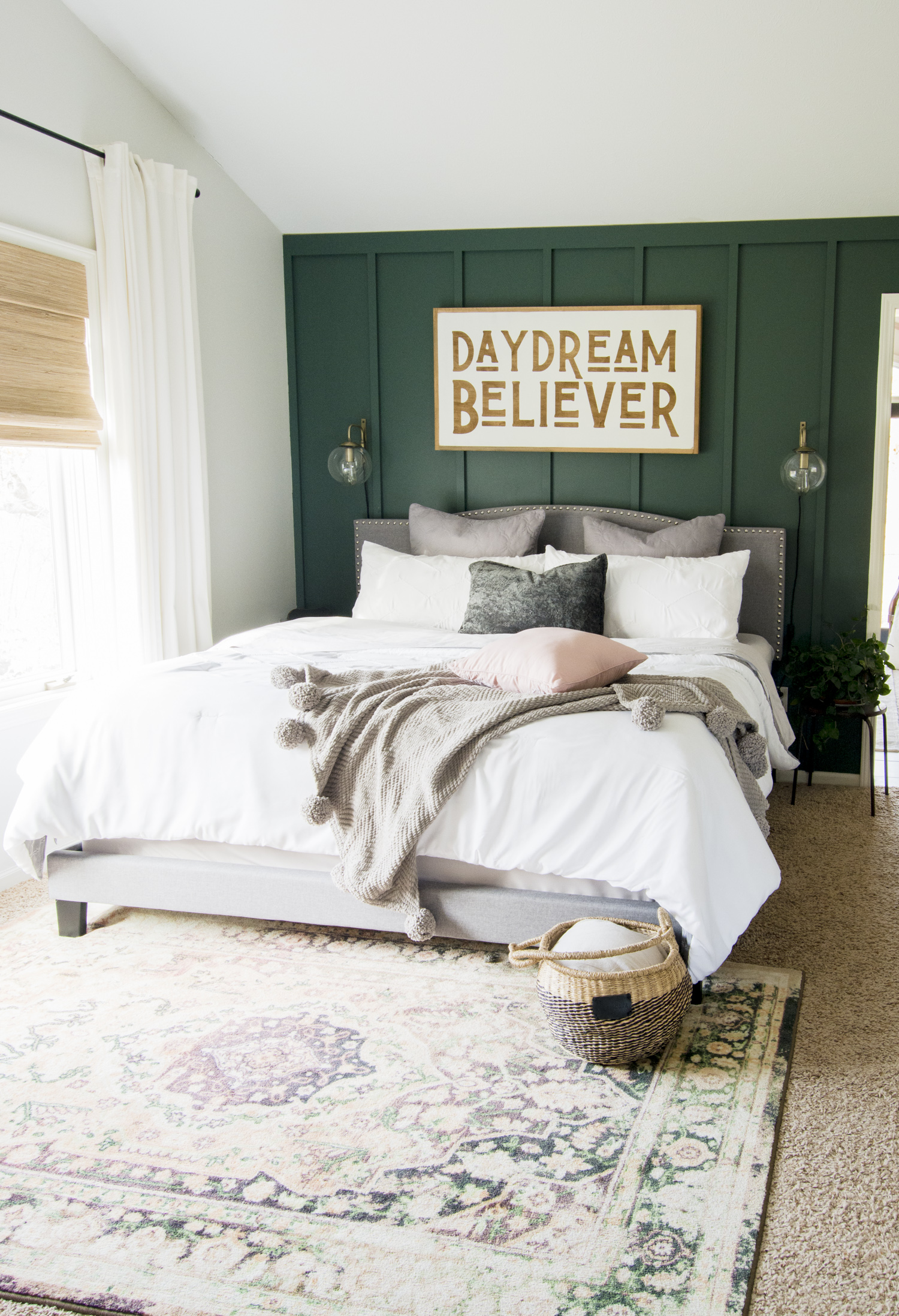 Modern farmhouse bedding for restful sleep.