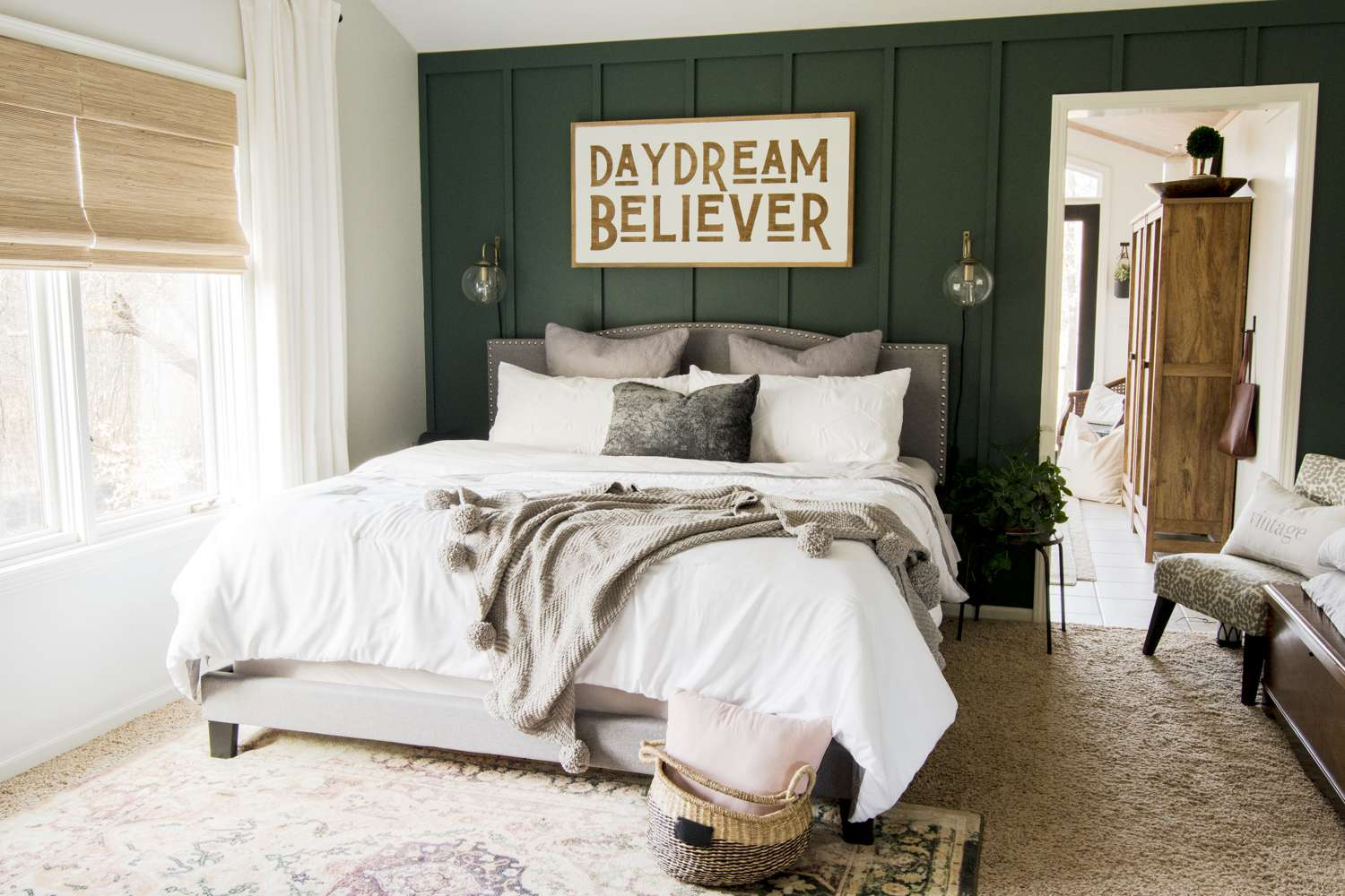 Master bedroom design for a modern farmhouse home.
