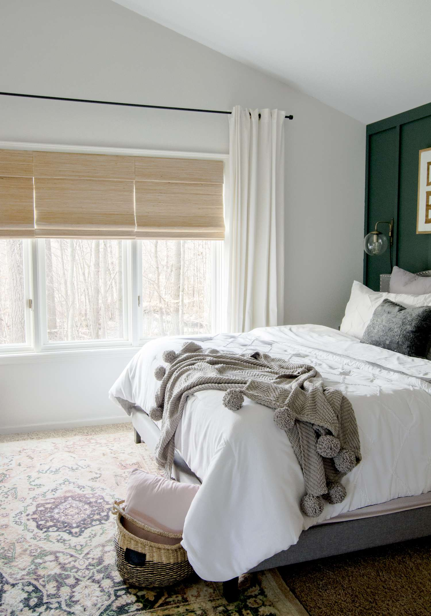 Block out light with roman shades for restful sleep.