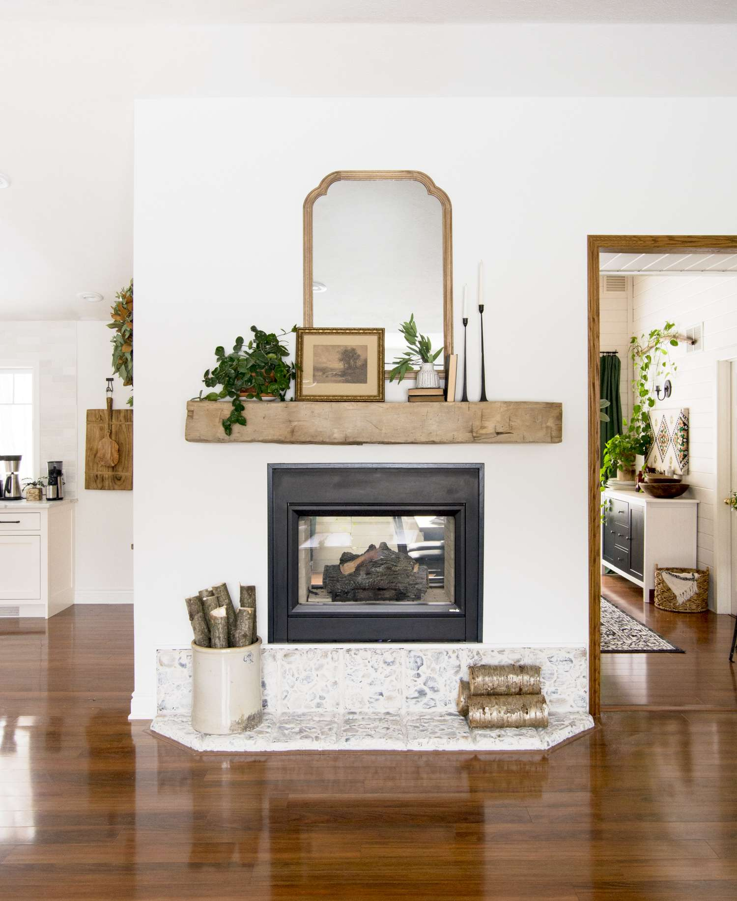 Modern farmhouse style fireplace mantle.