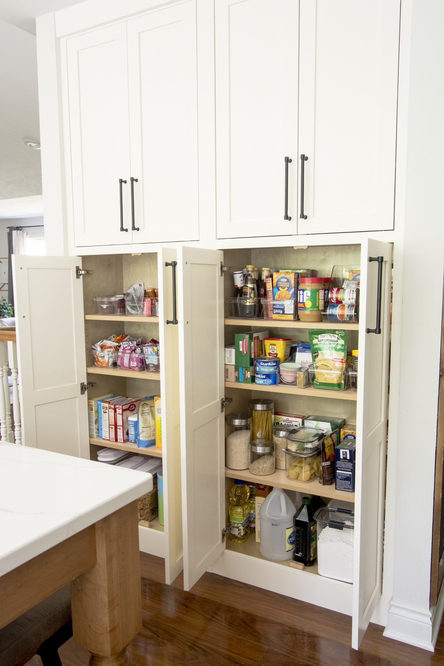 Kitchen pantry organizational solutions.