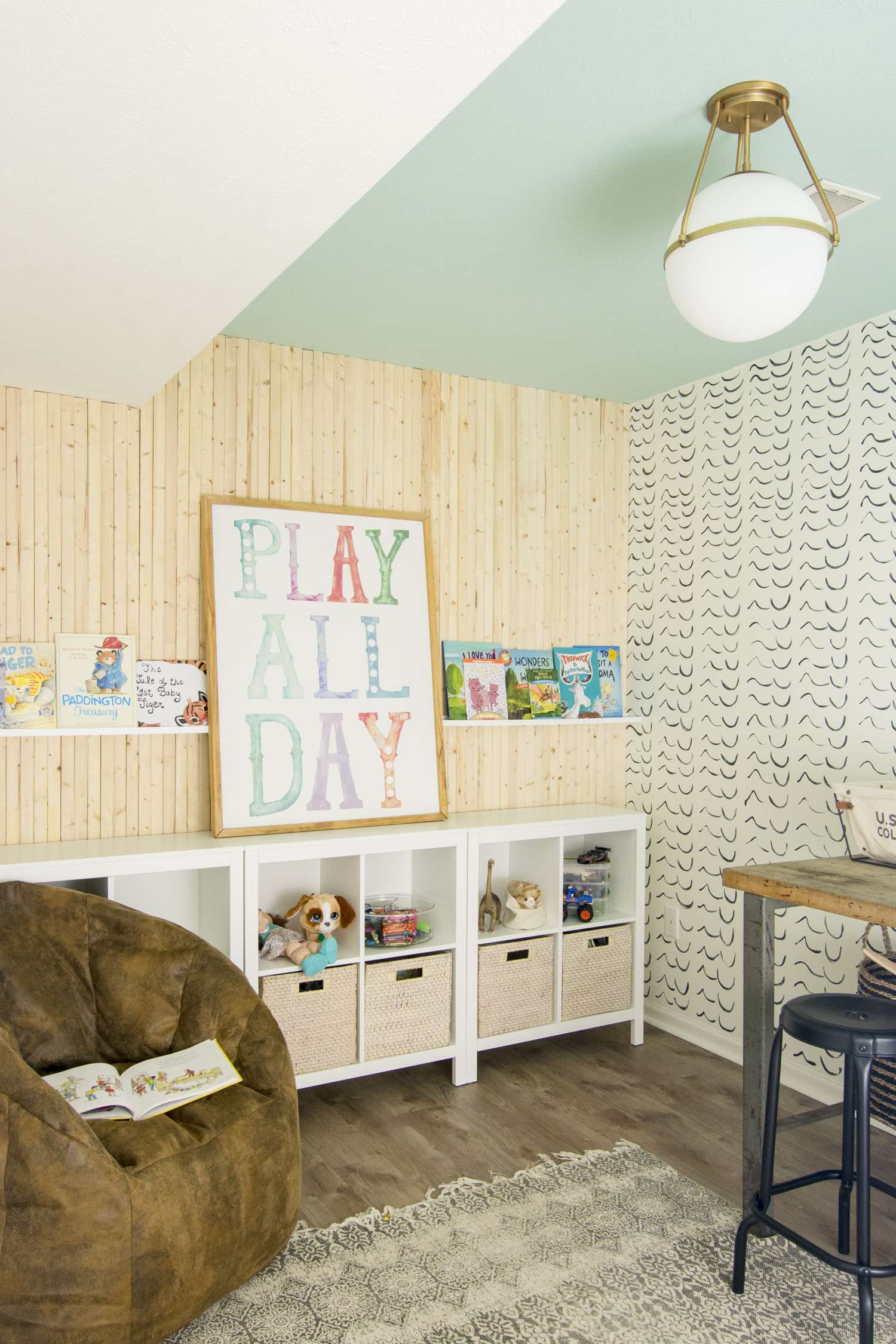 Kid's playroom organization and storage.