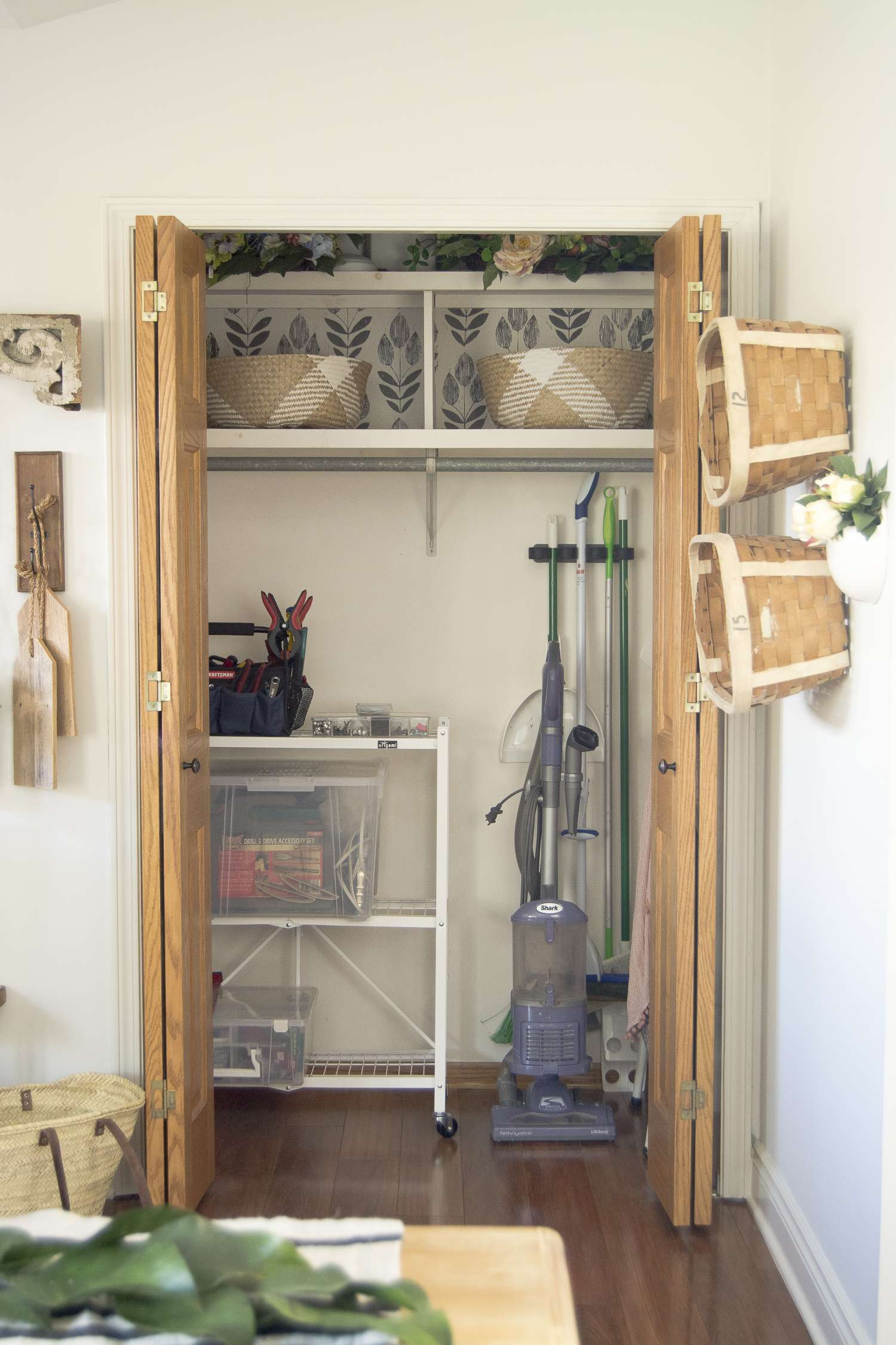 Dual purpose utility closet home organization ideas.