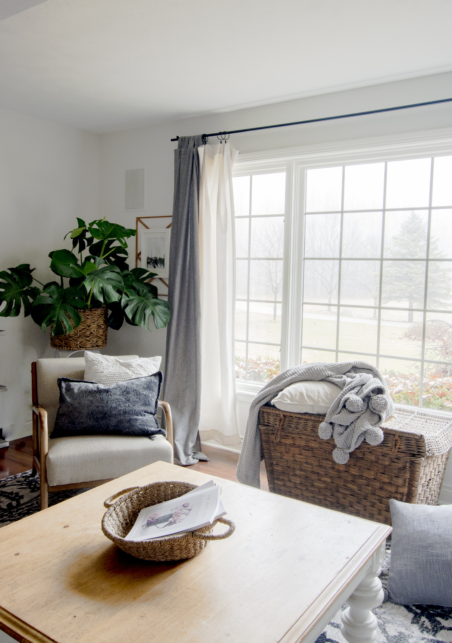 Arm chair in a modern farmhouse living room.