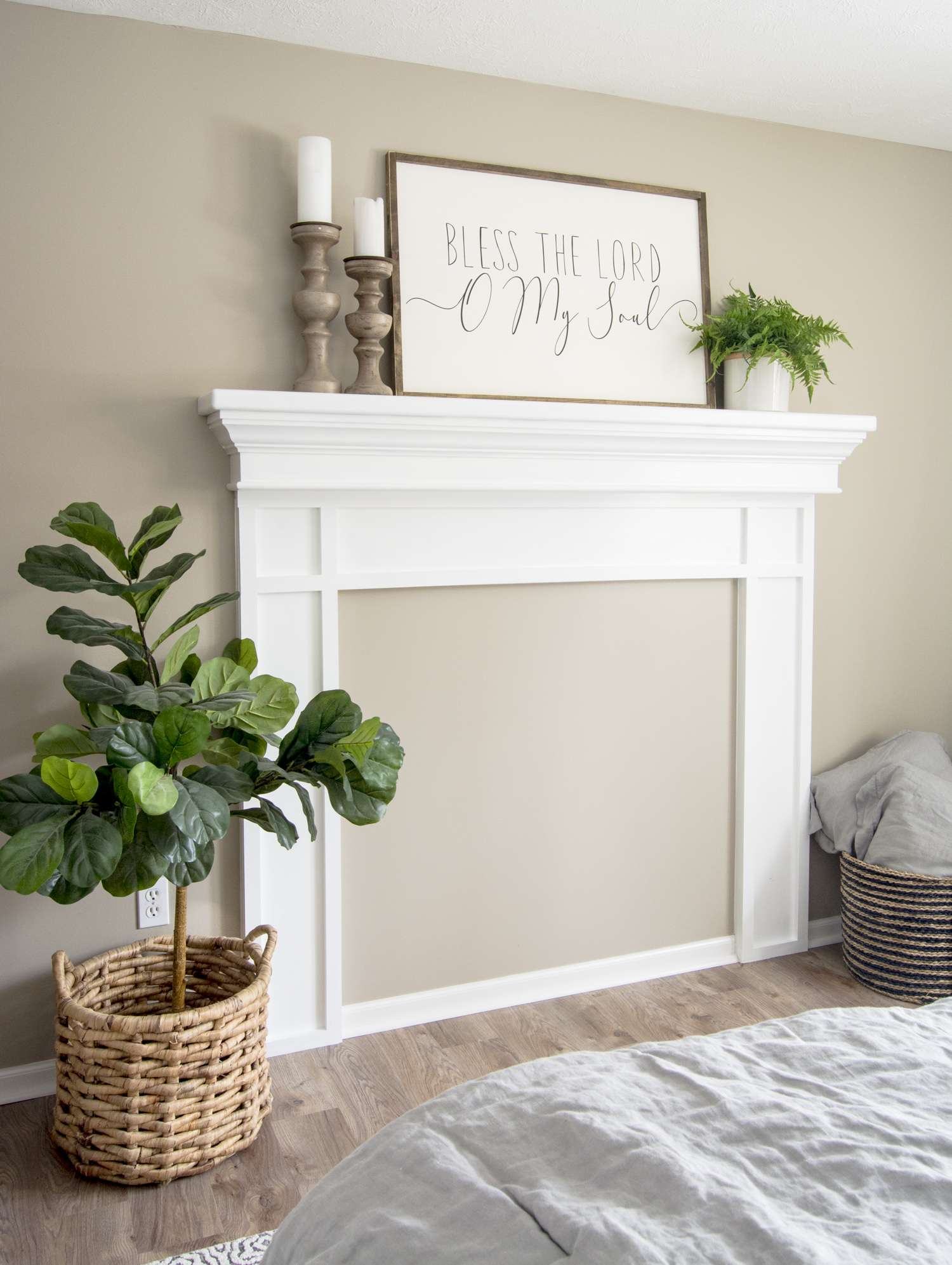 Styled fireplace mantel.