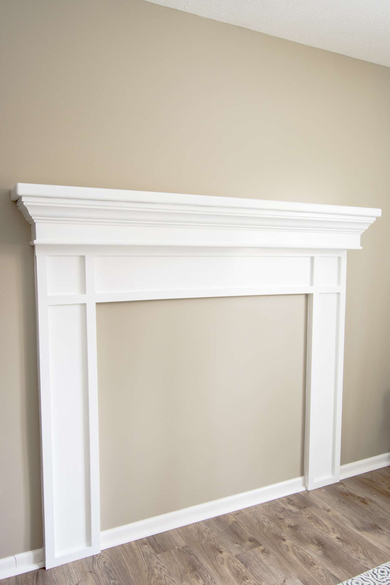 Painted faux mantel.