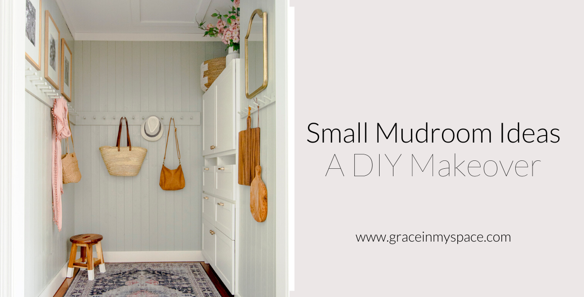 Lacking space? Small mudroom ideas don't have to include mudroom cubbies! Learn how to transform your mudroom with DIY peg rack, an Ikea hack and tongue and groove pine!