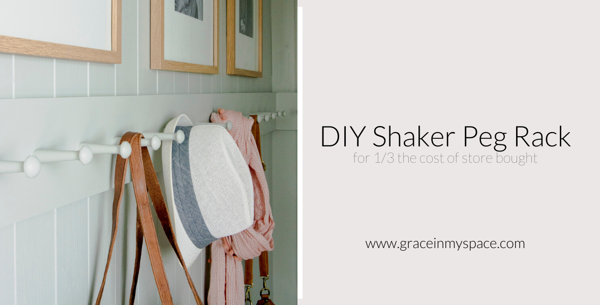 Making a wooden peg rack is a beginner woodworking project! Learn how to use shaker pegs to make shaker peg rail for 1/3 the cost of store bought racks!