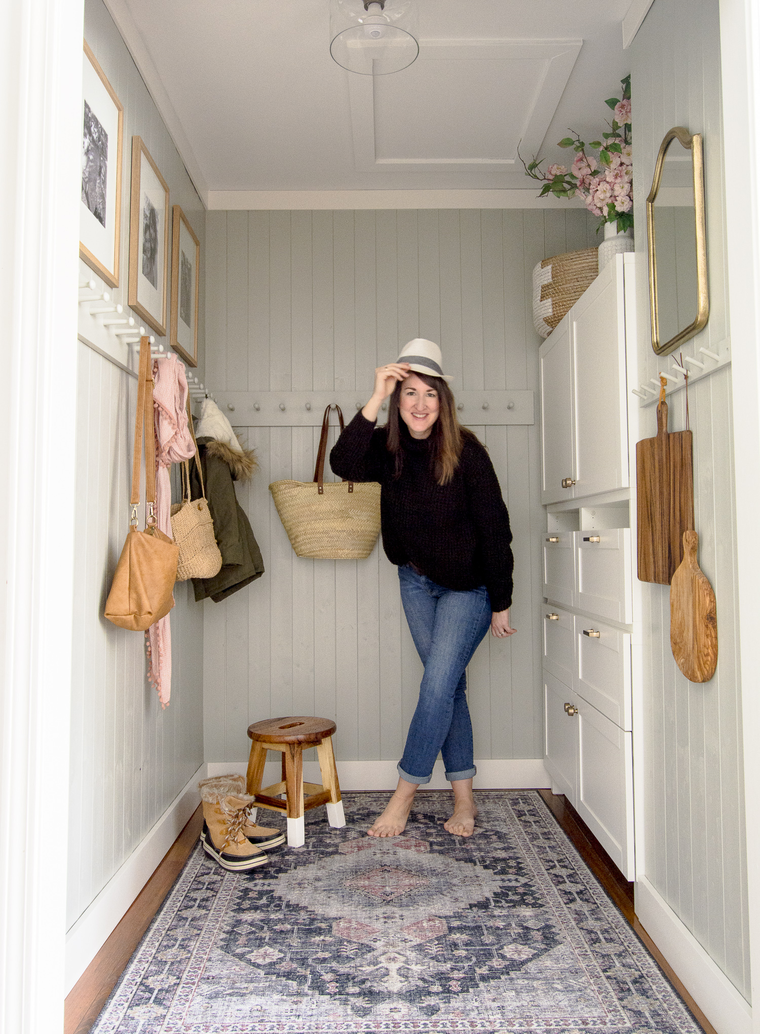 Small mudroom ideas without mudroom cubbies.