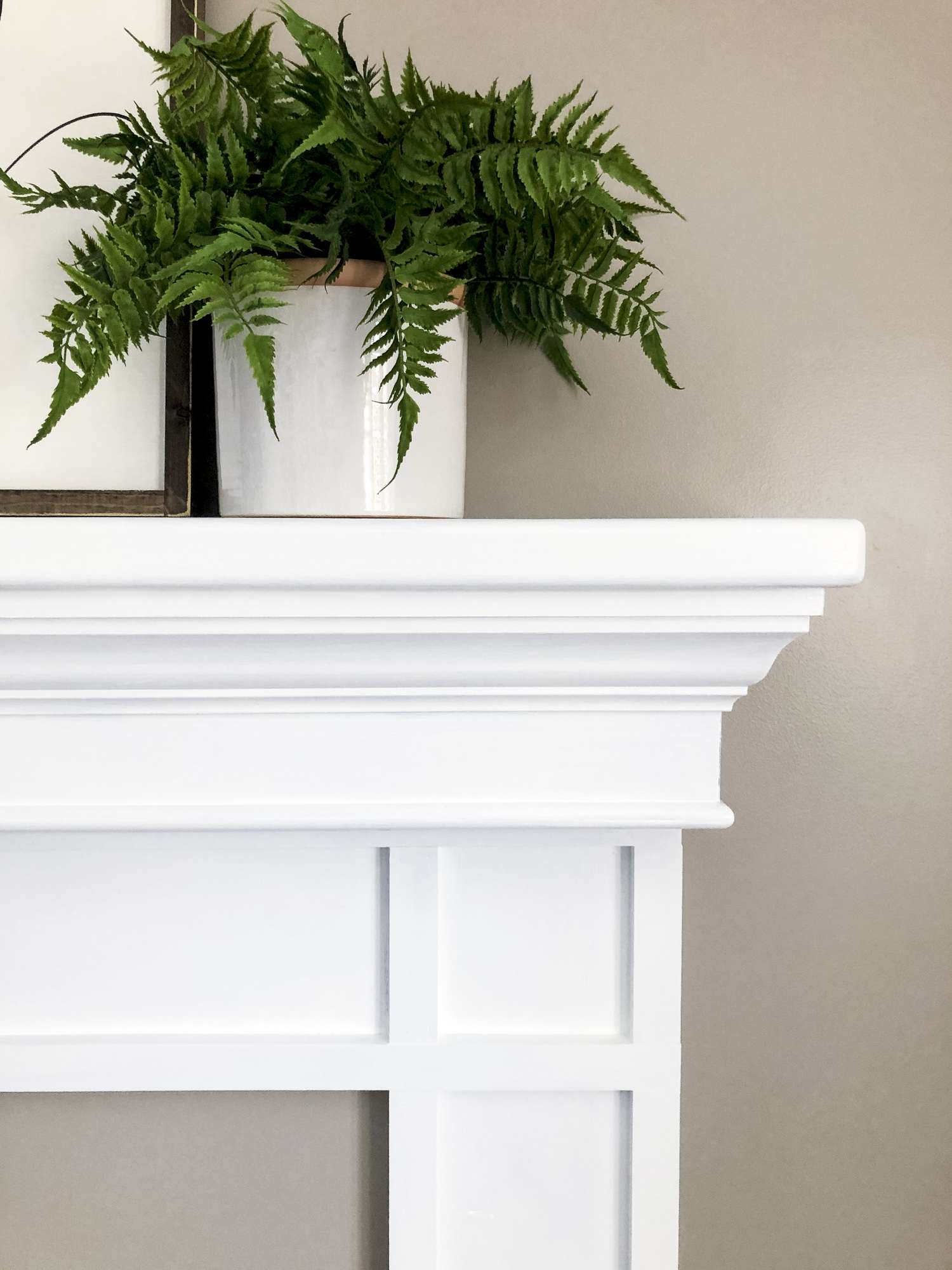 Fireplace mantel shelf.