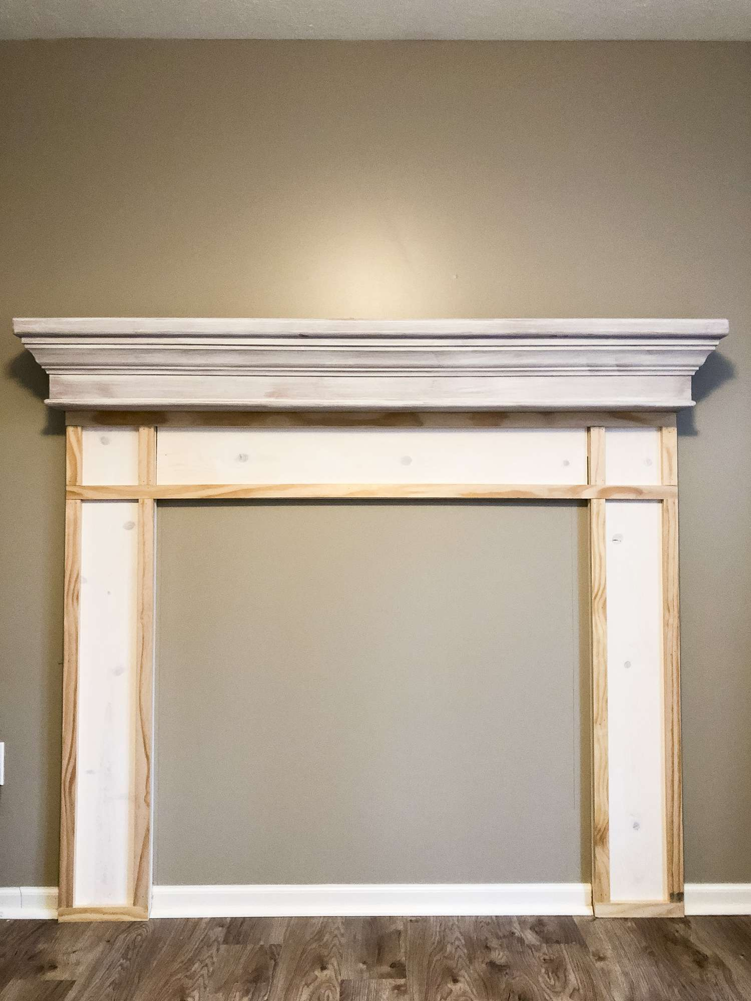 Building a fireplace mantel.