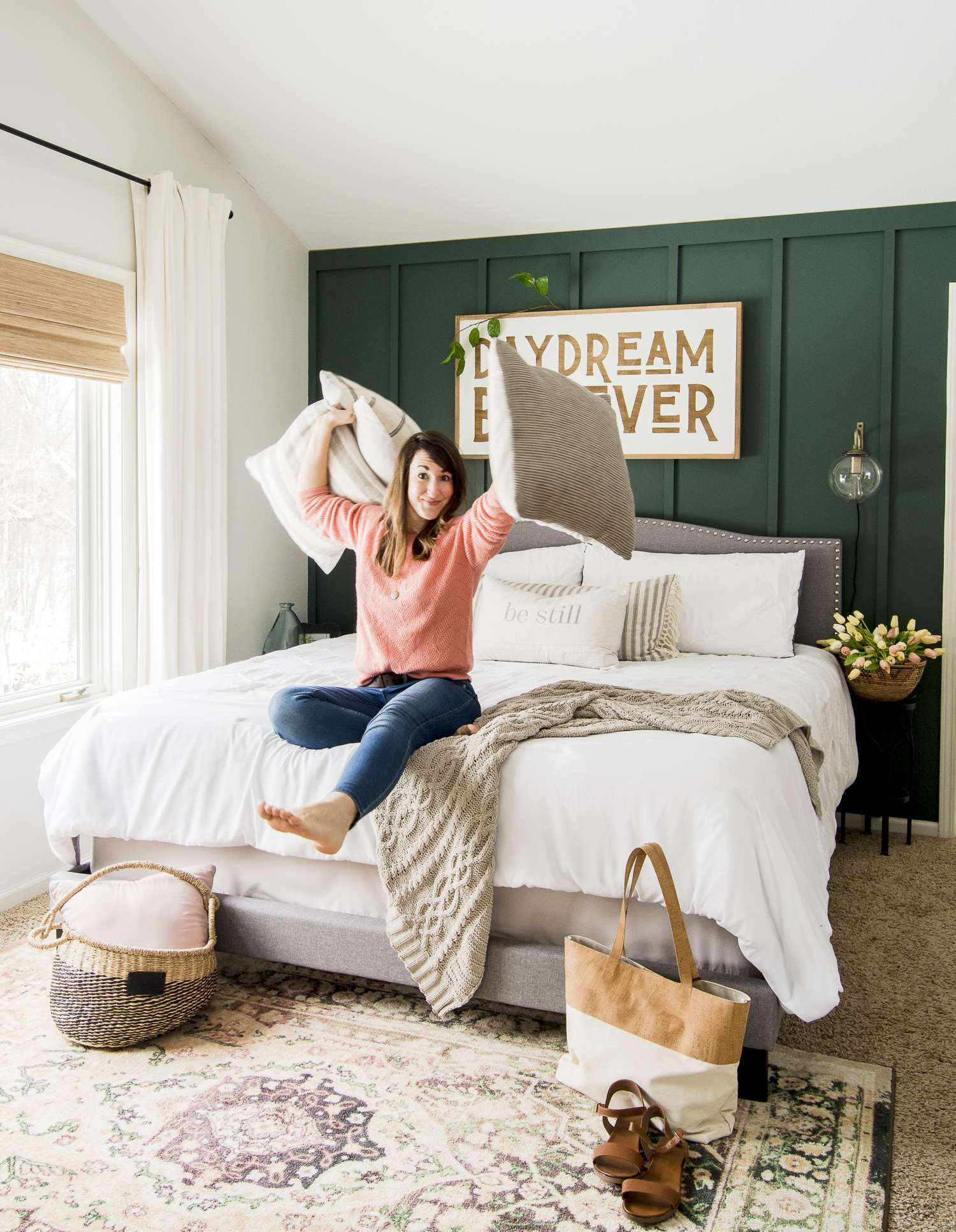 How To Use A Pop Of Color As Spring Decor In The Bedroom Grace In My Space