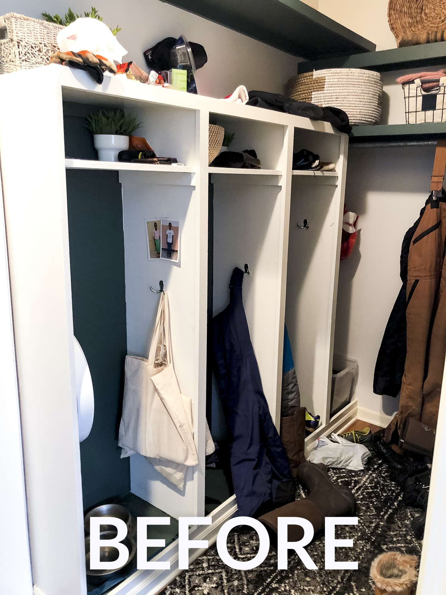 Disorganized mudroom cubbies.