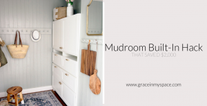 Do you need more mudroom storage but lack the space & budget? This mudroom built in hack added tons of storage and saved $2,000 instead of a custom cabinet!