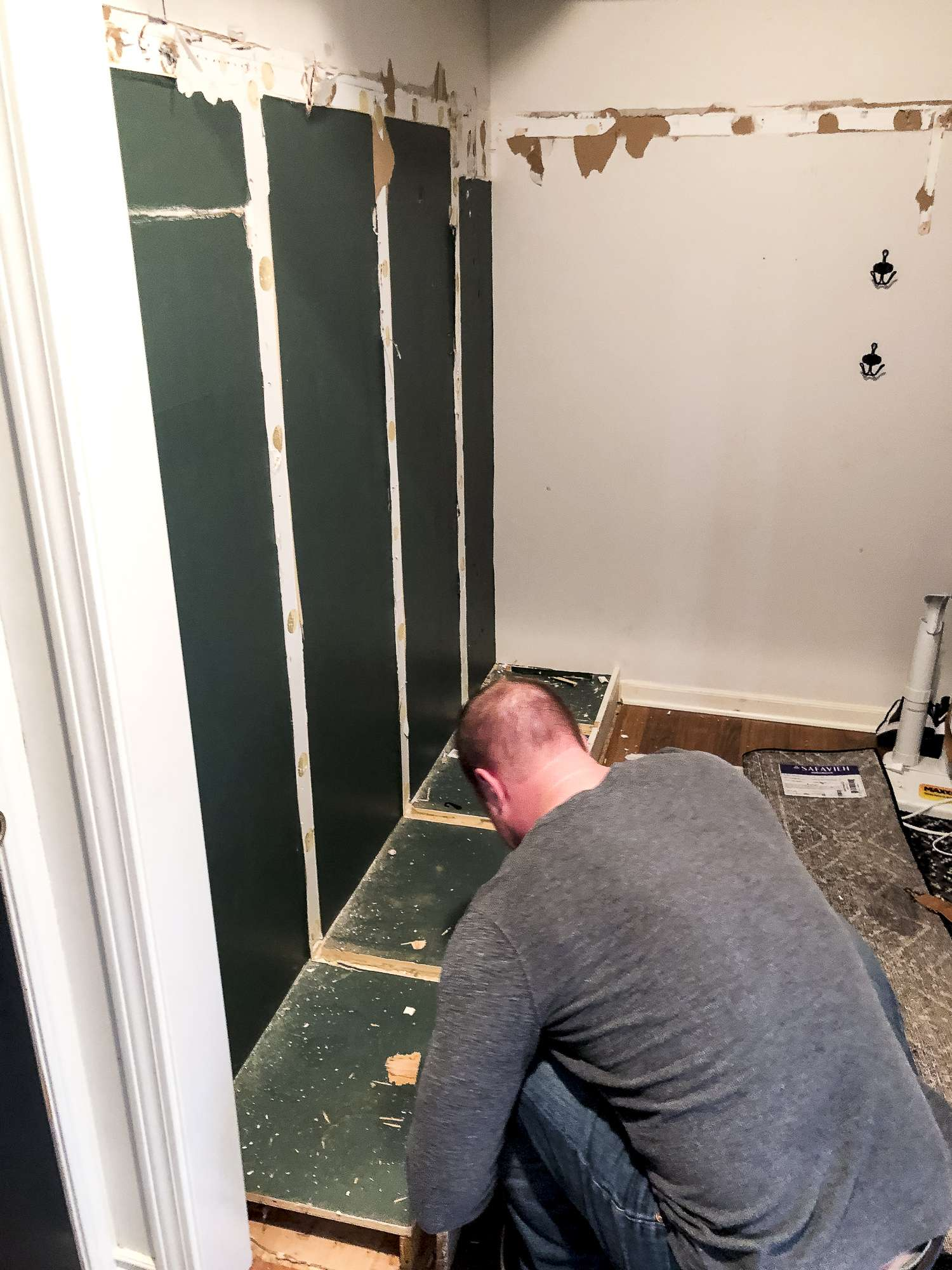 Removing mudroom cubbies.