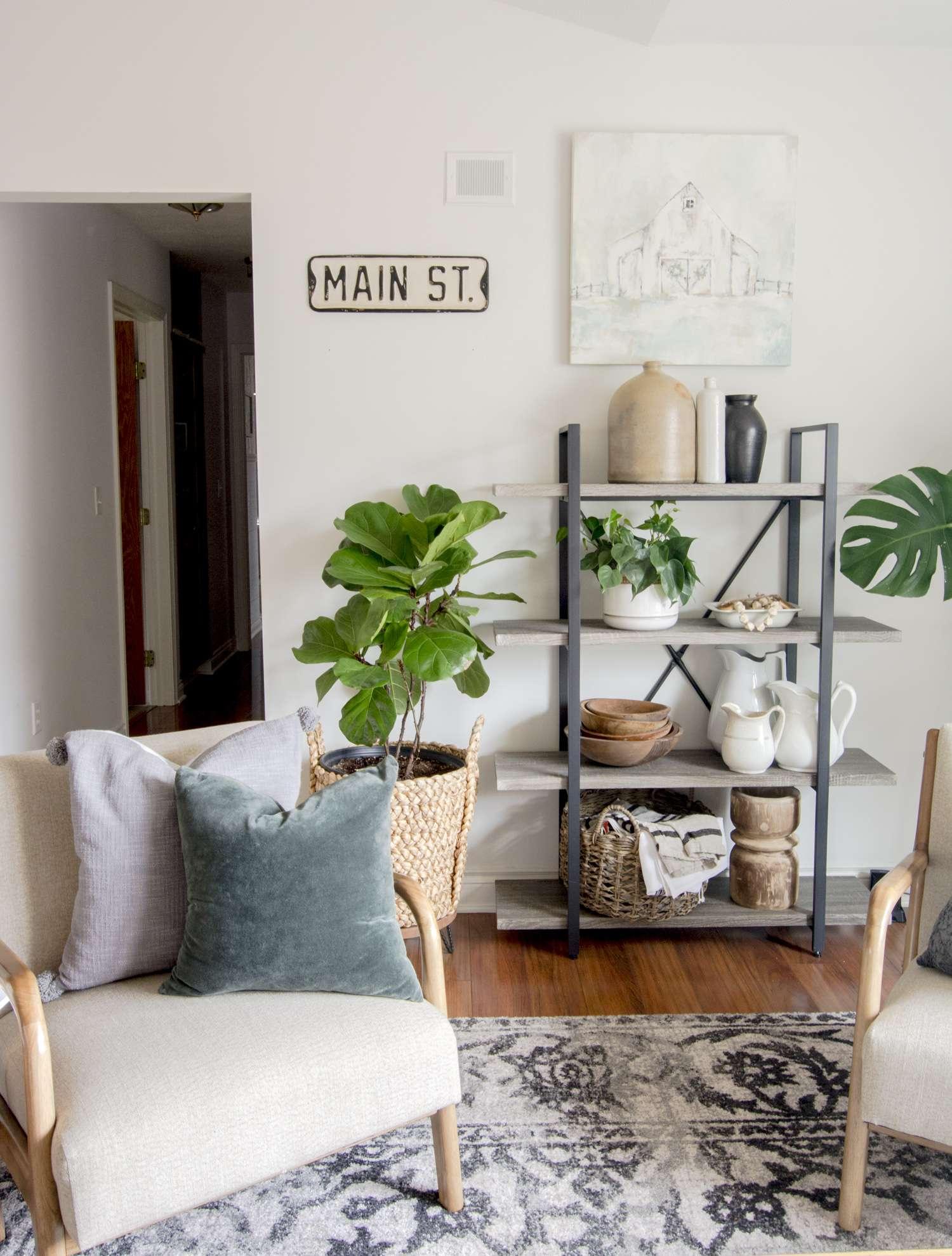Living room shelf decor.
