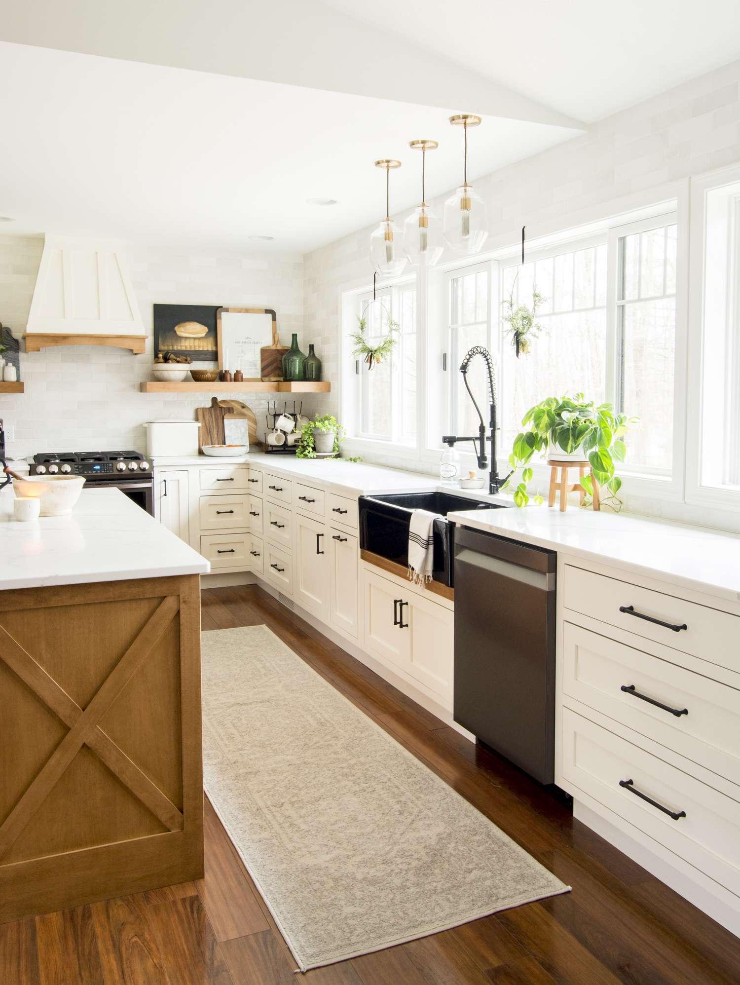 Modern farmhouse kitchen cabinet color.