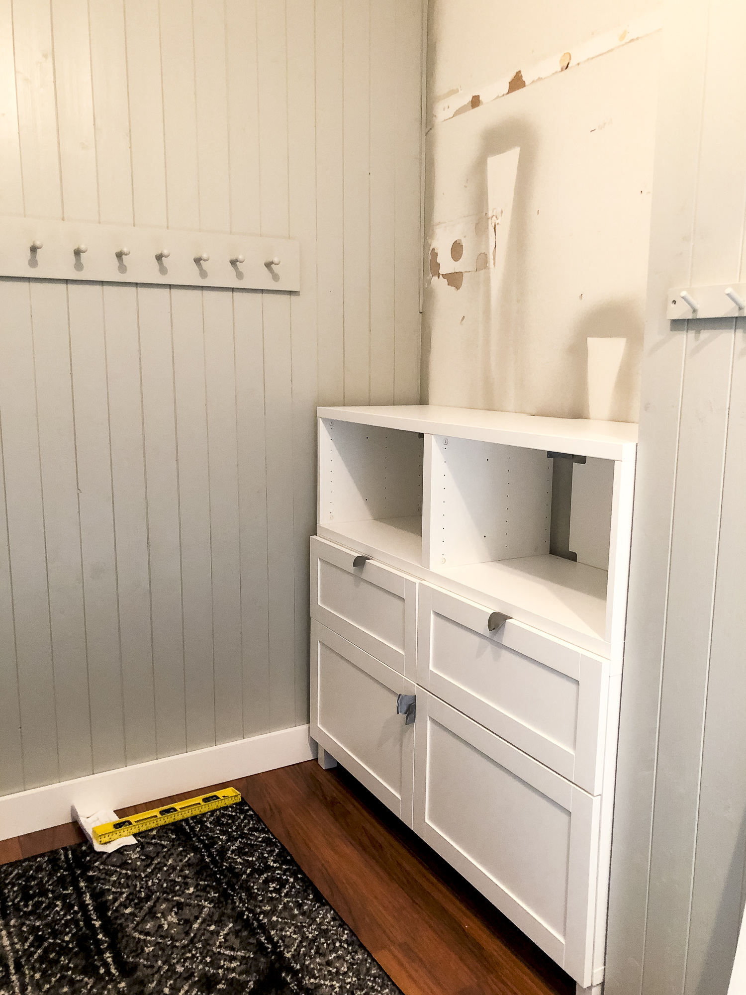 Mudroom storage ideas for a custom built in.