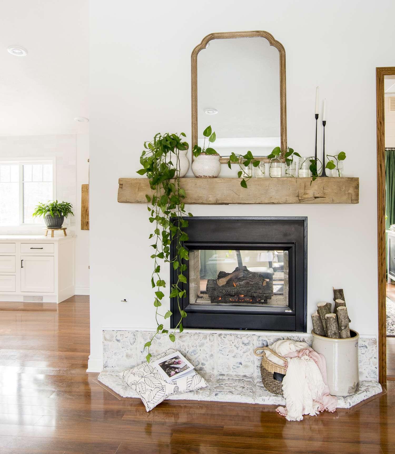 Propagating pothos as spring mantel decor.
