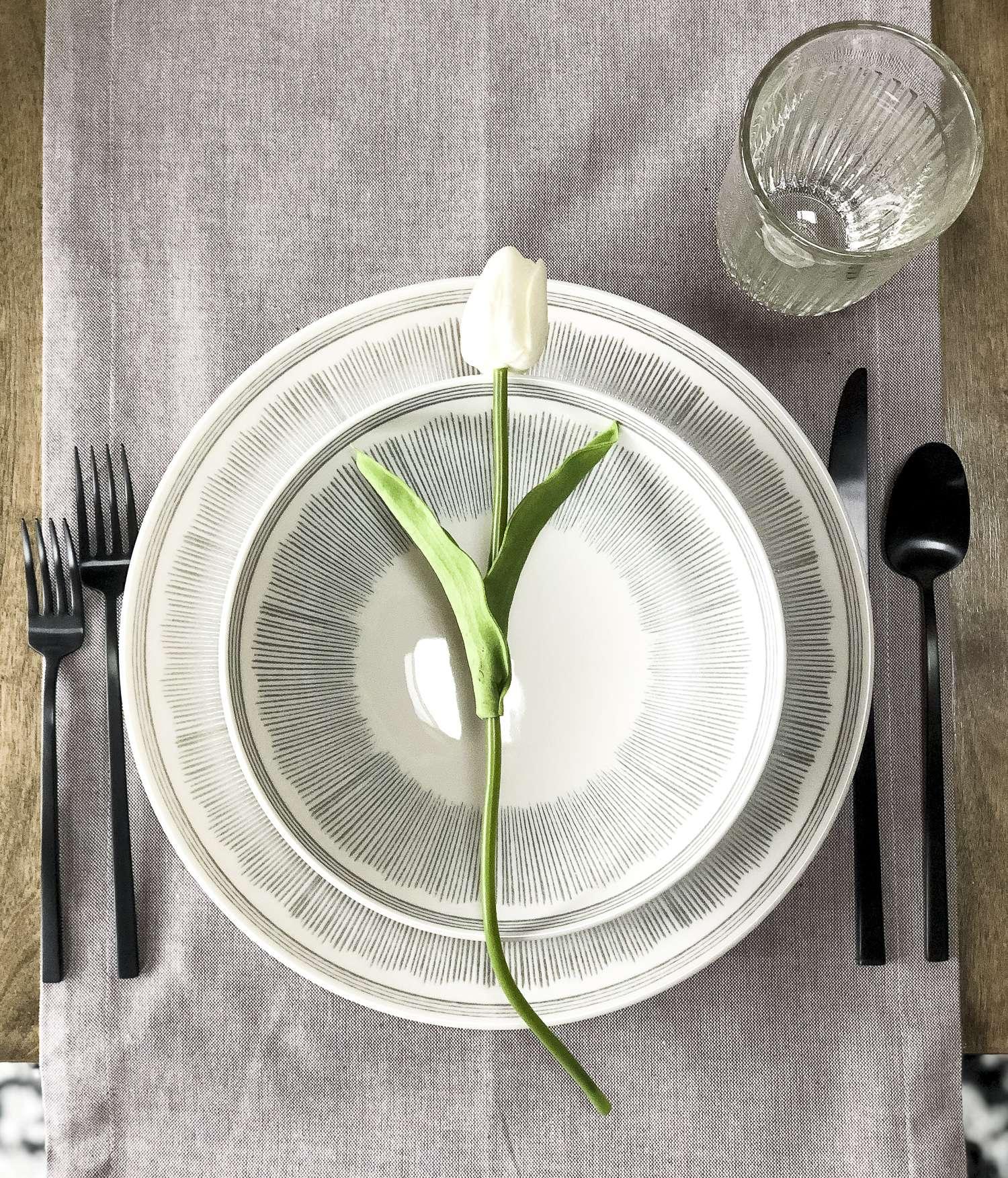 Proper table place setting.