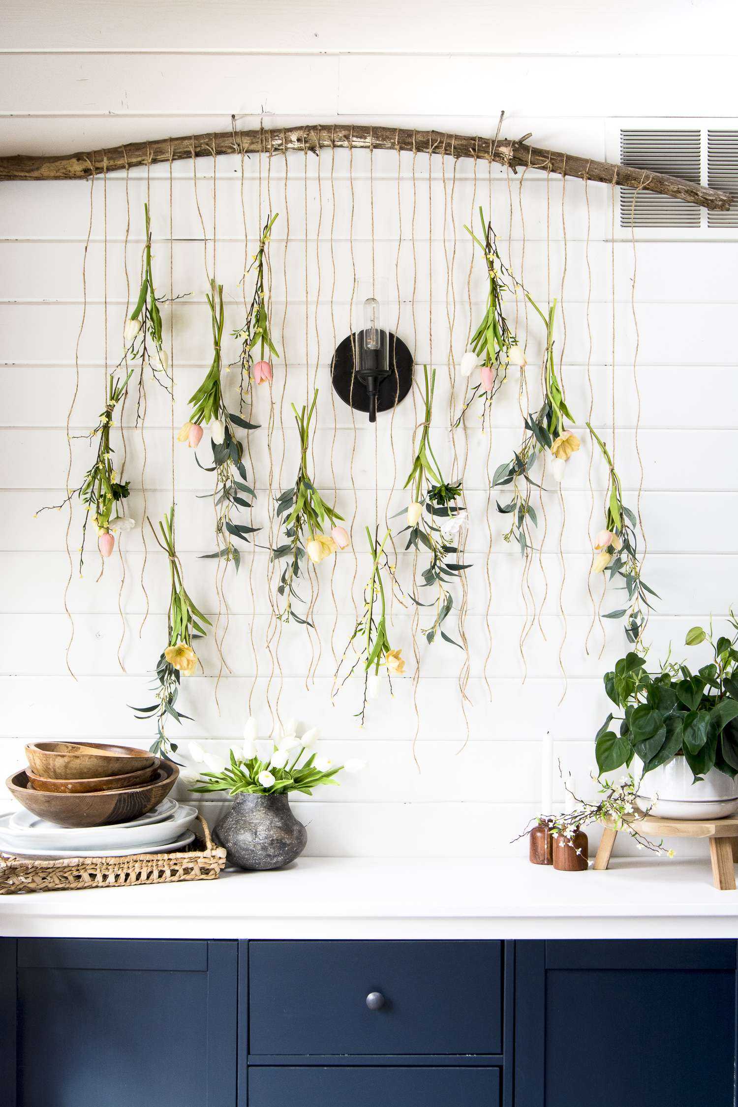 Flower wall decor display.