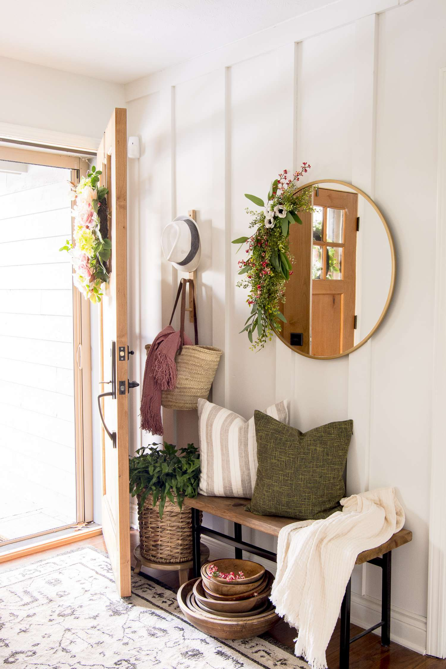 entryway styled for spring
