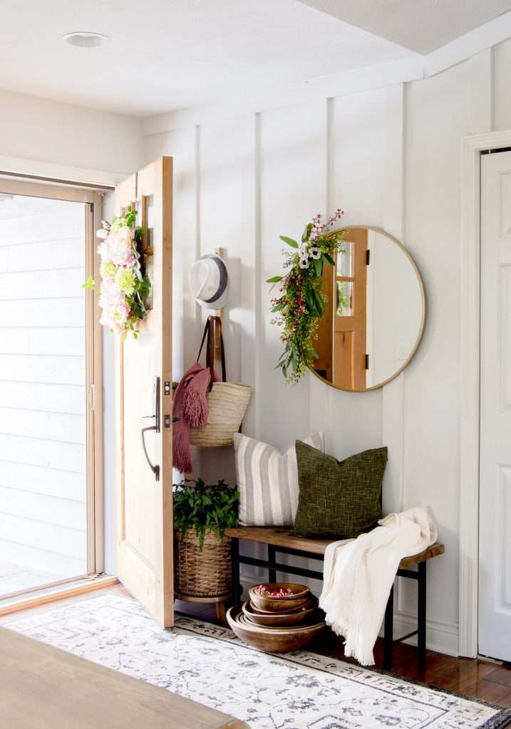 Spring entryway decorated on a budget.