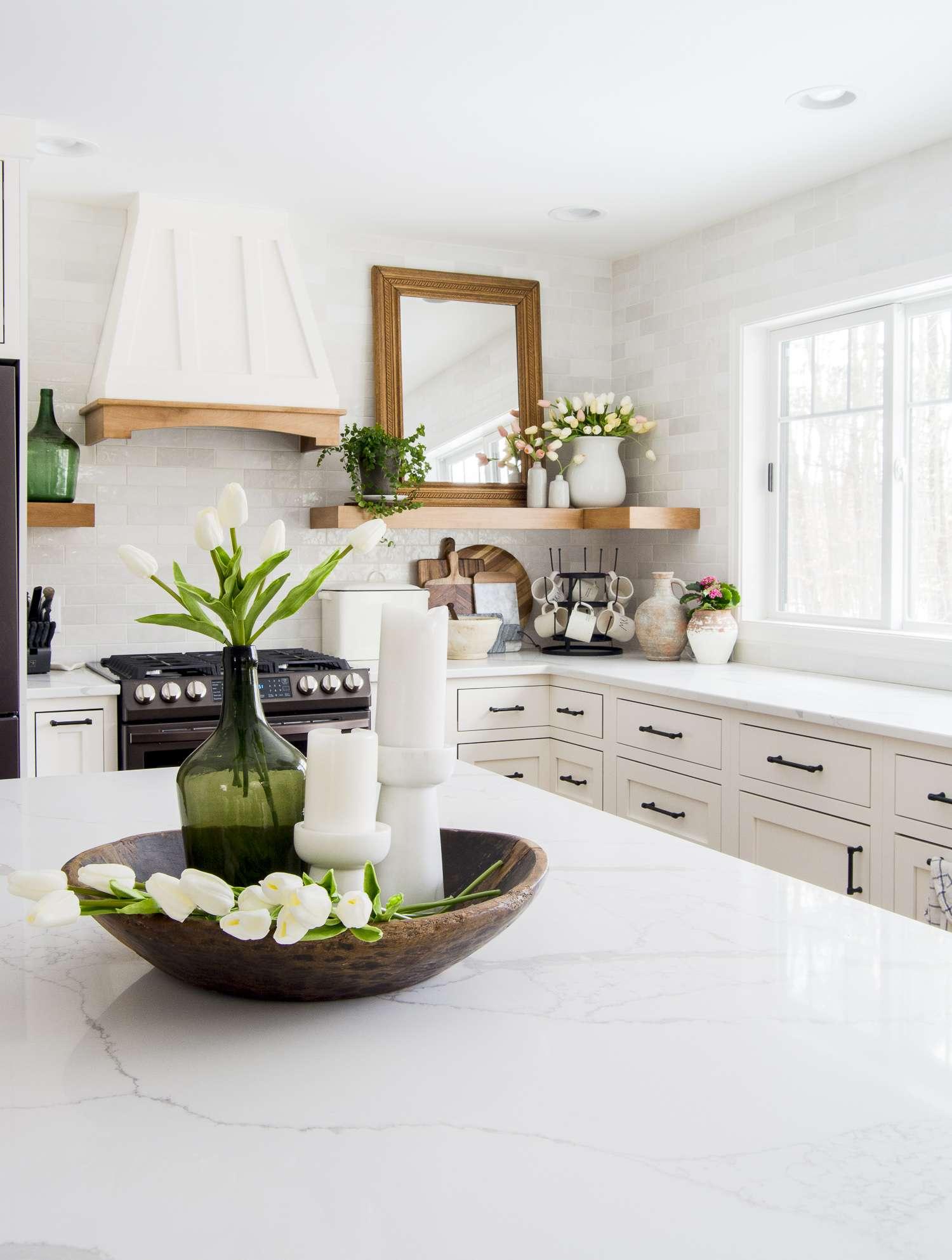 Spring kitchen island decor.