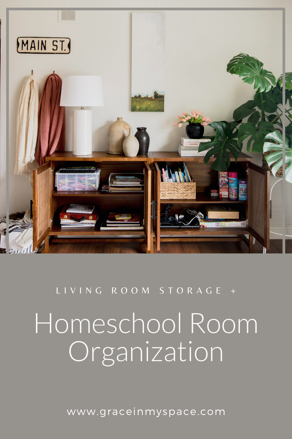 Homeschool Organization and Living Room Storage