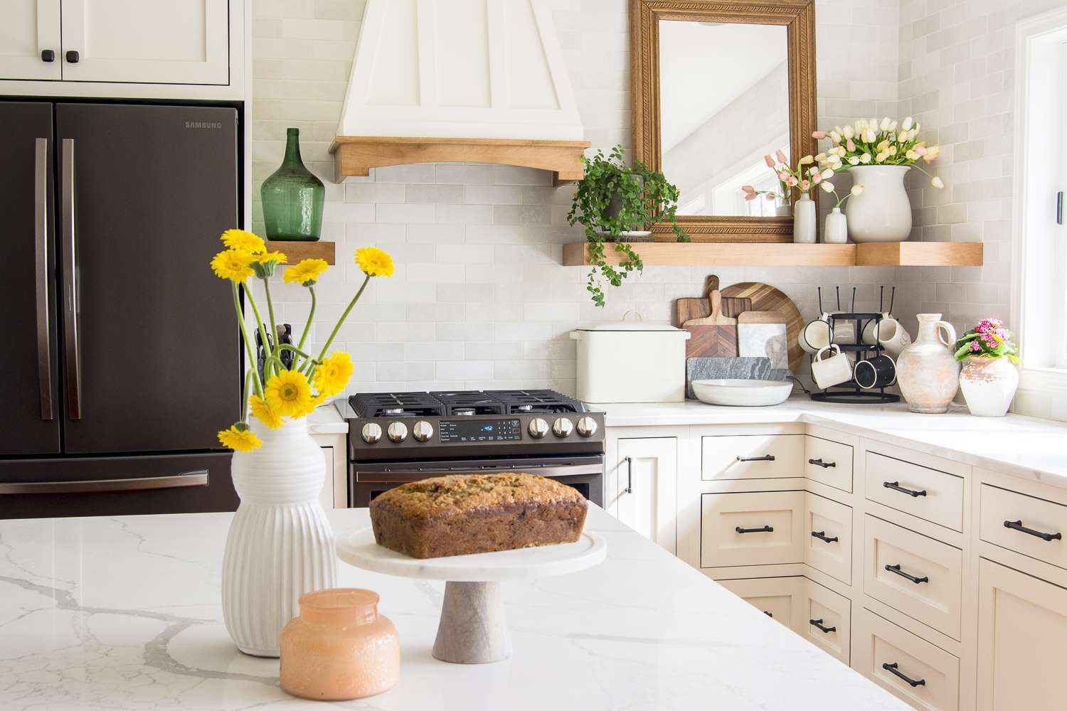 Modern farmhouse kitchen with banana bread.