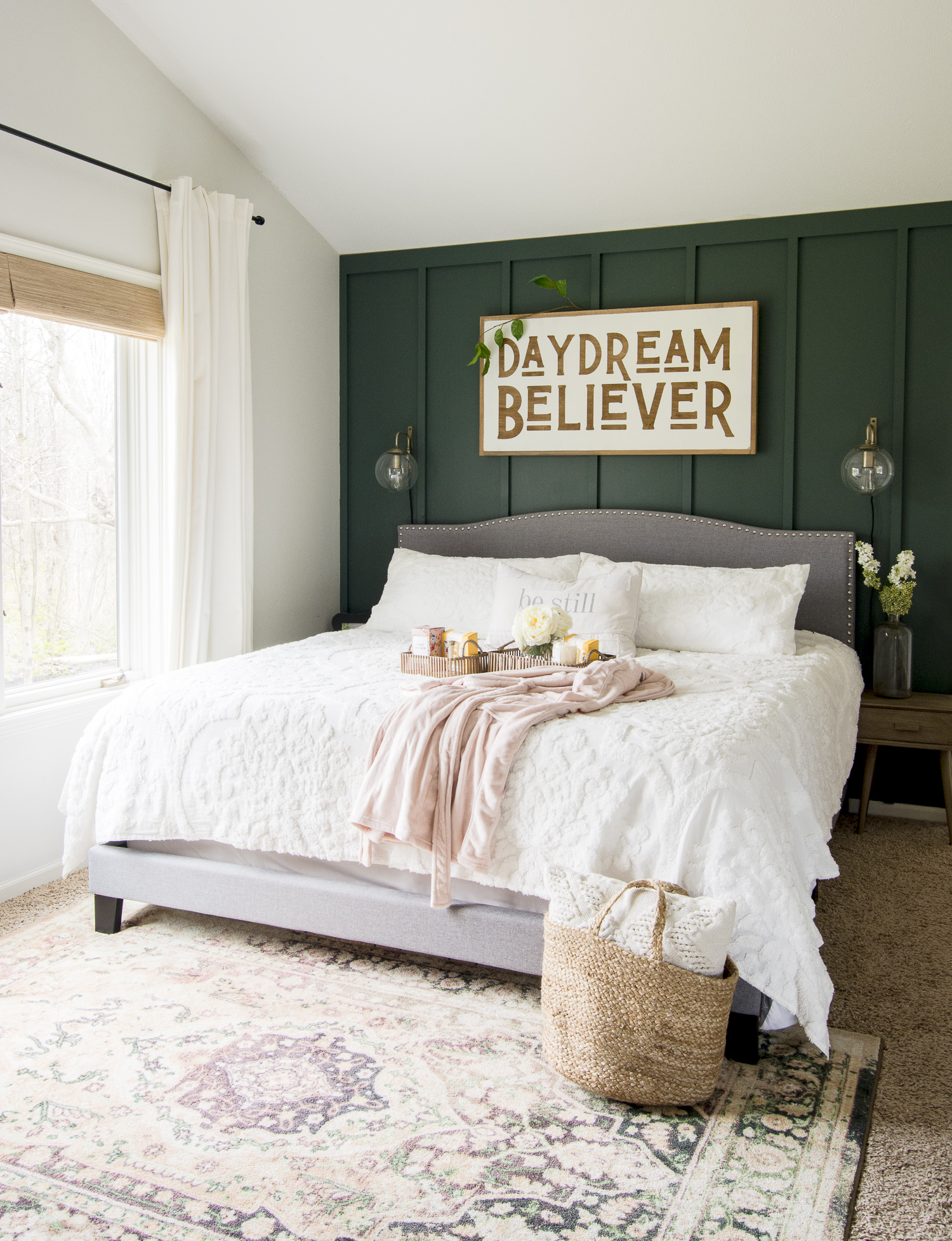 Modern farmhouse bedroom.