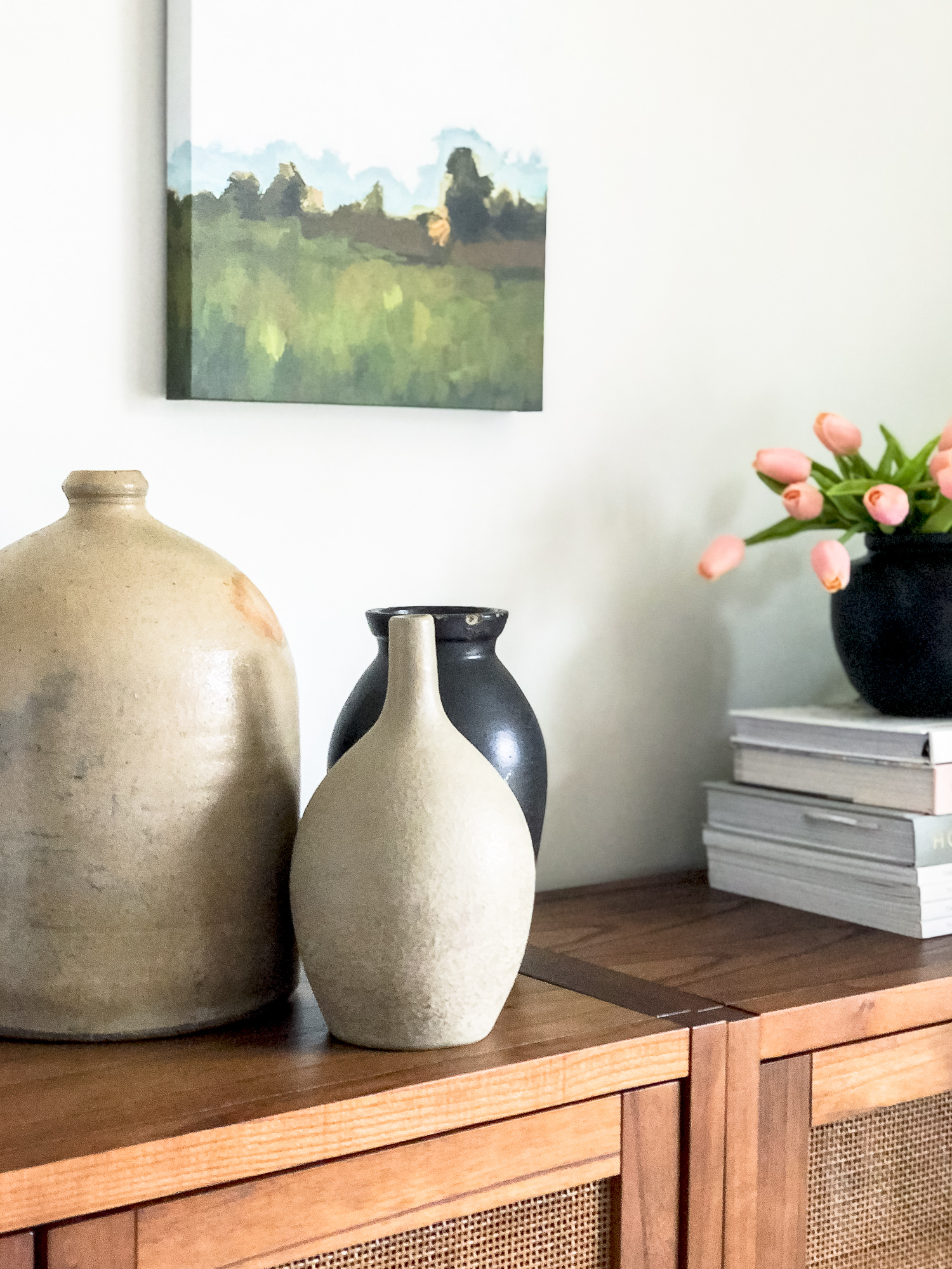 Vintage pottery as decor.