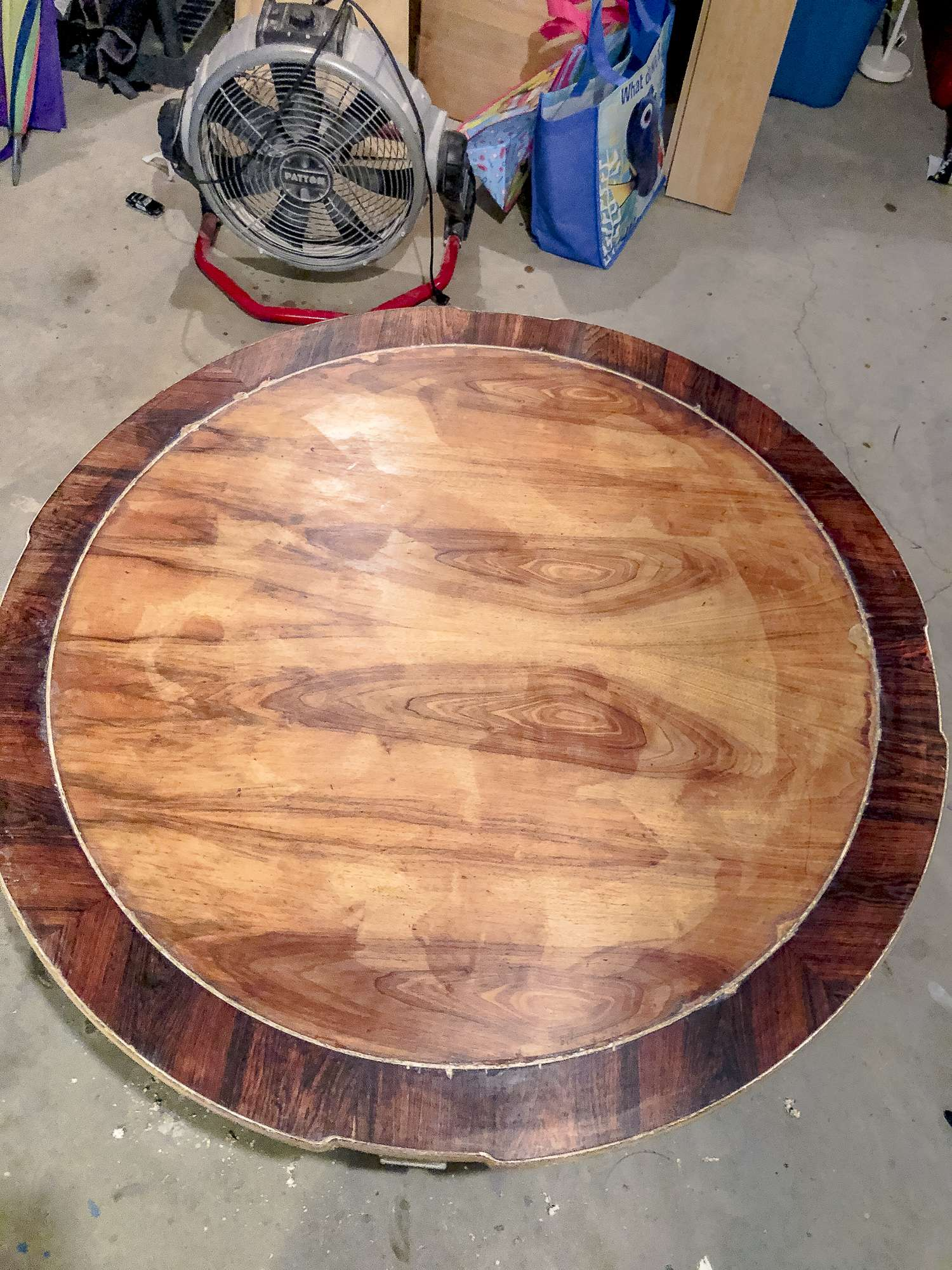 Refinishing a coffee table.
