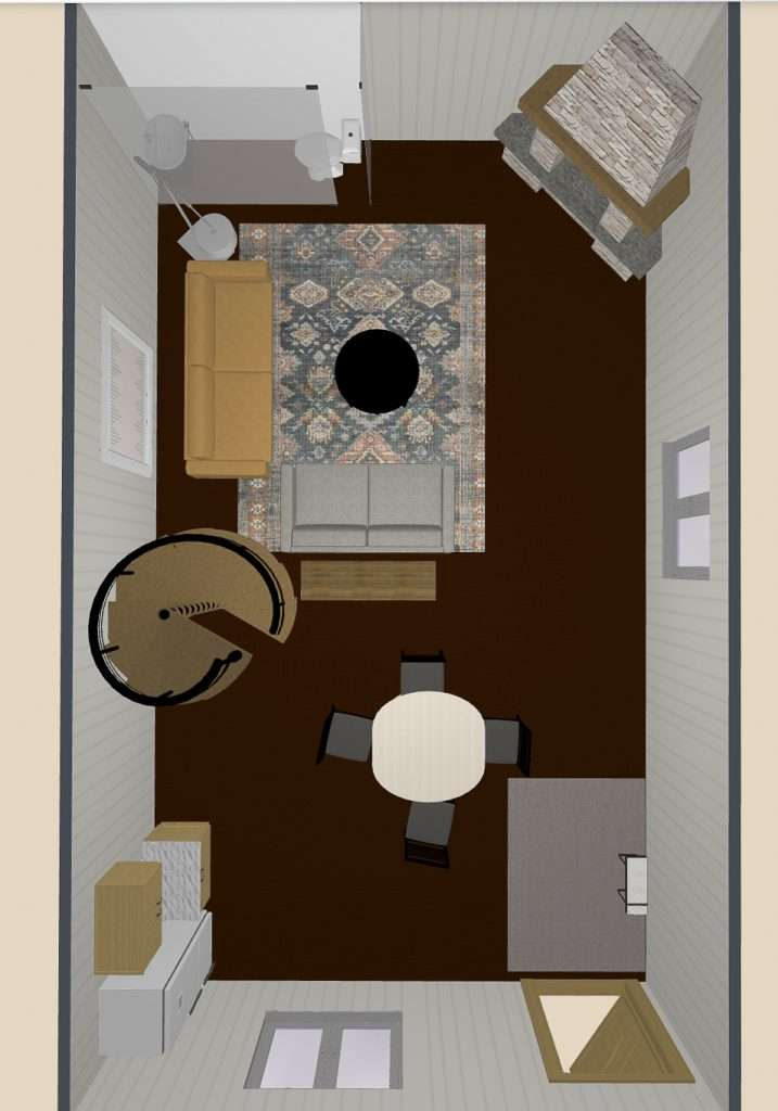 Birds eye view of guest house design.